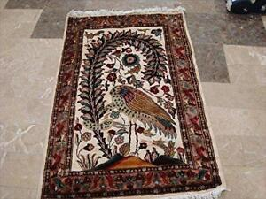 Exclusive Ostrich on Tree Hand Knotted Oriental Wall Rug Wool Silk Carpet (4 x 2.6)'