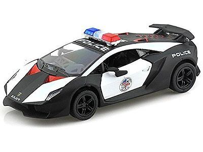 "New 5"" Kinsmart Lamborghini Sesto Elemento Police Car Diecast Model Toy 1:38"