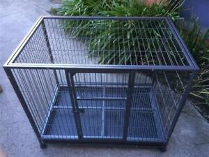Large Dog Cat Cage Metal Crate Kennel Wheel and Tray