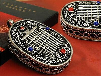 to do Tibetan 4 Gemstone Filigree Kalachakra Ghau Prayer Box Amulet Pendant