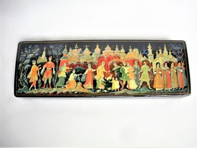 """12"""" Long Vintage Russian Hand Painted Palekh Black Lacquer Trinket Box Signed"""