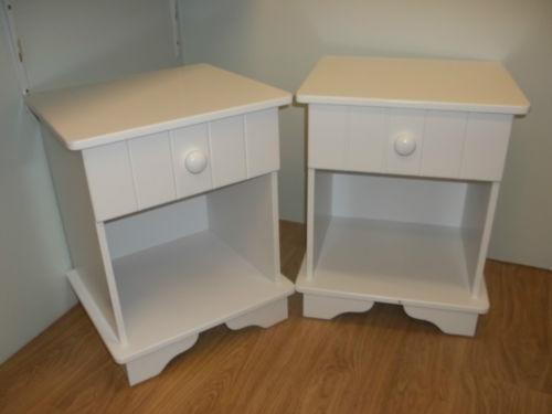 Pair White Bedside Cabinets