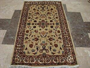 Beige Yellow Ivory Touch Exclusive Oriental Area Rug Hand Knotted Wool Silk Carpet (5 x 3)'