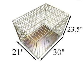 Ellie-Bo Dog Puppy Cage Folding 2 Door Crate with Non-Chew Metal Tray Medium 30-inch Gold