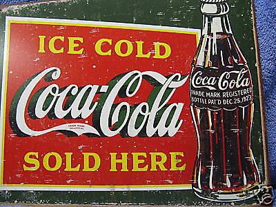 Coca Cola Metal Sign (Coca Cola Bottle Old Look Advertising Tin Metal Sign Green NEW Pop Soda)