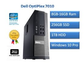 DELL OPTIPLEX 7010 INTEL CORE I7-3770 3.4GHZ 16GB RAM, 256GB SSD HDD, DVD, LCD ALSO AVAILABLE/RW