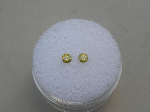 Yellow Diamond Loose Faceted Round Natural Pair 3.5mm