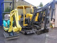 MINI DIGGER AND MICRO DIGGER HIRE IN LEEDS - WAKEFIELD - BRADFORD, ALL SIZE DIGGERS SELFDRIVE