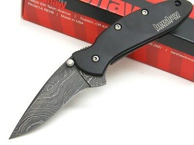 KERSHAW Black CHIVE Straight Assisted DAMASCUS Folding Pocket Knife! 1600DAMBK