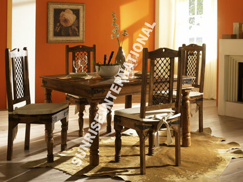 Indian Jali Furniture Wooden Dining Set 1 Table 4 Chairs Dining Table Sets A