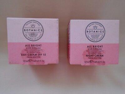 BOOTS Botanics All Bright Hydrating SPF 15 Day & Night creams ALL...