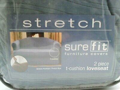 SureFit Stretch Pinstripe 2-Piece - Loveseat Slipcover  - French Blue (SF35828)