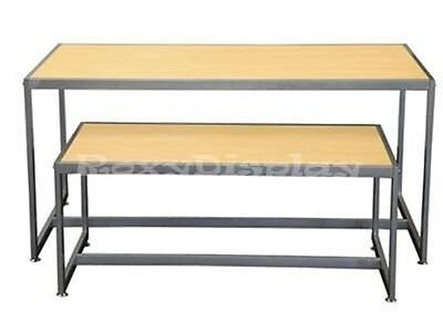 Light Maple Color Table Set With Matte Silver Frame Racks Stands Rk-ta2nr