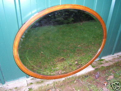 Mirror large Mahogany Oval with bevelled glass VGC MO7