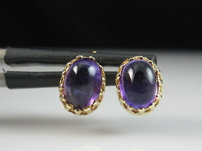 14K Amethyst Earrings Estate Cabochon Vintage Yellow Gold Purple Stud 2.00ctw