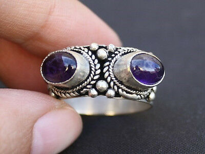 Big Solid Tibetan Silver Plated Multi Weaving Dotted Two Amethyst Gemstone Ring