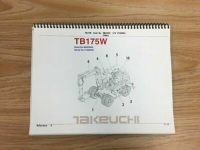 Takeuchi Tb175w Parts Manual Sn 1752003 And Up Free Priority Shipping