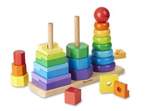 Melissa & Doug Geometric Stacker Wooden Educational Toy #567