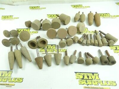 "45 NEW! COTTON FIBRE ABRASIVE MOUNTED POINTS- ASSORTED SHAPES 1/4"" SHANKS"