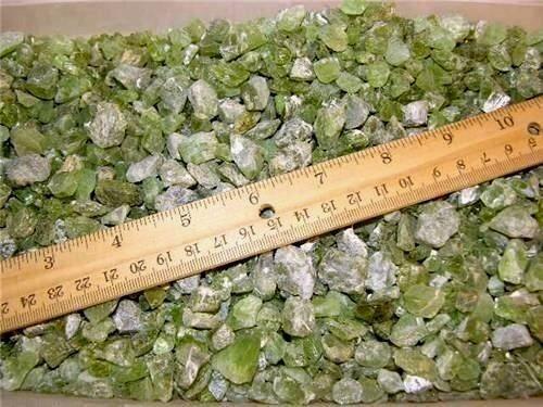 Peridot mine rough crystal mixed grade 8 to 20 MM Arizona 1/4 pound lots