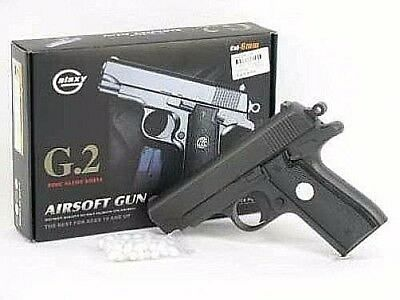 "Black Full Metal Airsoft Pistol 6.5"" G2 Gun 200fps Air Soft Realistic + 5000 BBs"