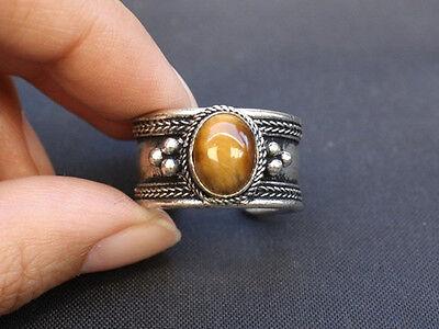 Large Adjustable Tibetan Oval Tiger Eye Gemstone Weaving Dotted Amulet Ring