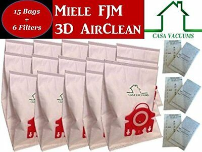 - 15 Miele FJM Micro filtration Vacuum Bags 6 Filters NEW + Sealed