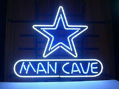 "New Dallas Cowboys NFL Bar Real Glass Man Cave Neon Sign 17""x14"""