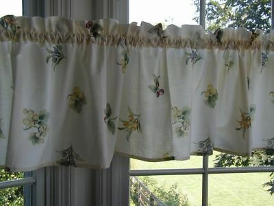 """pfaltzgraff Jamberry 39"""" x 14""""L fabric Valance 1.5 rod pocket SPECIAL MADE cream for sale  Woodstock"""