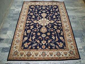 Mid Night Blue Hot Ivory Touch Medallion Rectangle Area Rug Hand Knotted Wool Silk Carpet (6 X 4)'