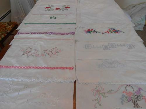 Vintage Embroidered Pillowcases Lot Ebay
