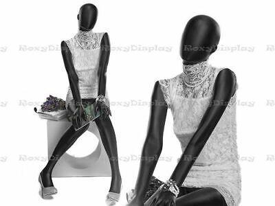 Female Fiberglass Satin Black Mannequin Egg Head Roxy Display Mz-ozib1