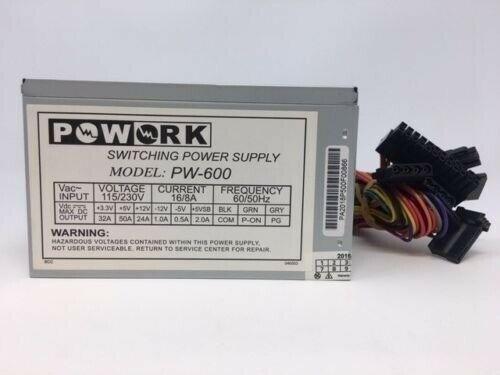NEW***Powork 600w-Max ATX Power Supply 20+4pin & SATA