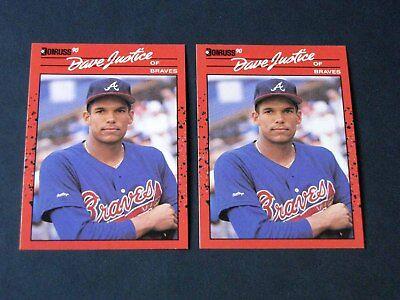 Lot (2) 1990 Donruss MLB Baseball DAVID JUSTICE #704 Rookie RC Atlanta Braves (1990 Donruss Mlb Card)