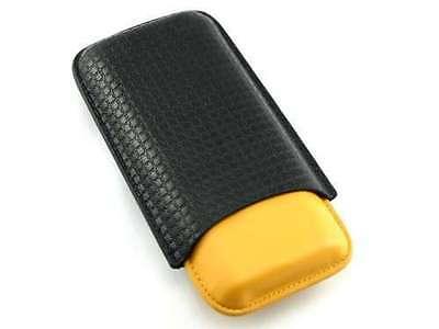 Black Leather Grid Bonded & Yellow 52 Ring Gauge 3 Finger Cigar Case