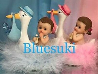 Baby Shower Baby with Stork Favor Boy Blue Girl Pink Comes in Favor Box Choose ](Stork With Baby)