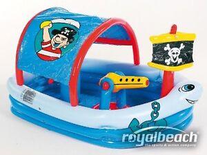 Kinder Pool Planschbecken Piratenpool mit Splashfunktion Schwimmbad Sonnenschutz
