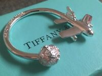 Tiffany & Co Silver Rare Plane Globe Key Ring