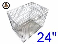Metal dog crate with metal tray