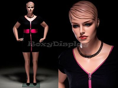 Plus Size Female Fiberglass Mannequin With Molded Hair Dress Form Avis2-mz