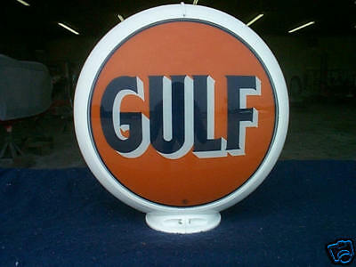 gas pump globe GULF reproduction 2 glass faces in a White plastic body NEW
