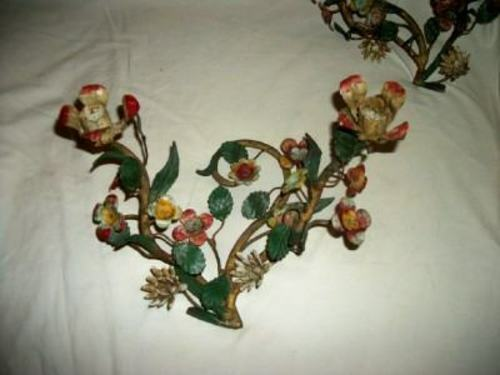 ANTIQUE ITALIAN TOLE CANDELABRA CANDLE HOLDERS PAIR ORIGINAL COLOR FRENCH 1930