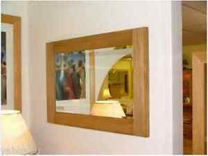 High Quality Solid Oak Framed Wall Mounted Mirror 90cm by 60cm Bevelled Glass