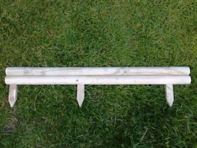 Pack Of 10 New Horizontal Garden Lawn Log Panel Edging 1M X 4 Inch - 3 Stakes