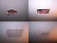 DRYWALL REPAIR- WATER DAMAGE LEAK// PATCH HOLES+ PAINT