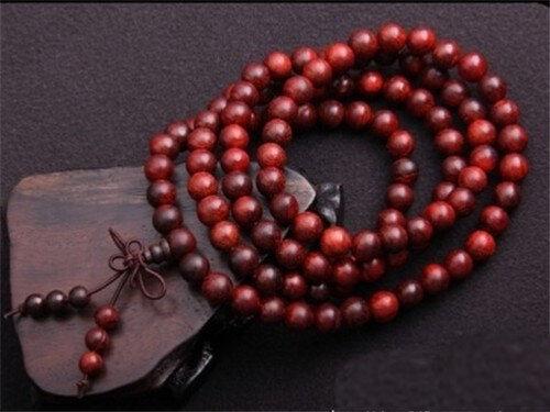 "Tibetan 108 6mm Rosewood Buddhist Prayer Beads Mala Necklace -24"", Top Quality!"