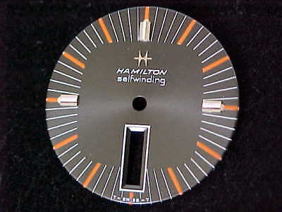 New Old Stock Hamilton Selfwinding Day Date Black And Orange Dial Silver Markers