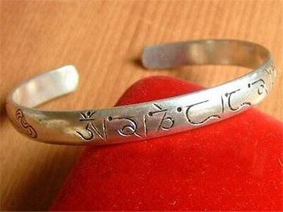 Tibetan Buddhism Delicately Carved Mantra Om Mani Padme Hum Amulet Cuff Bracelet