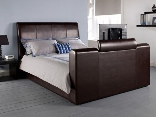 Faux Brown Leather Super King Size Tv Bed In Ellon Aberdeenshire