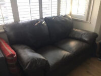 2 seater leather sofa bed, dark brown, good condition, Free delivery
